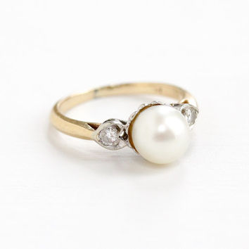 Vintage 14k Yellow, White Gold Cultured Pearl & Diamond Ring - 1950s Dated 1956 Size 5 Mid Century Elegant Heart Two Tone Fine Jewelry