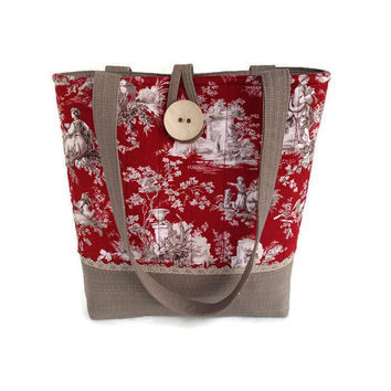 Red handbag, Toile shoulder bag, pocket book red, Quilted hand bag, French Country tote, French chic tote, Large handbag