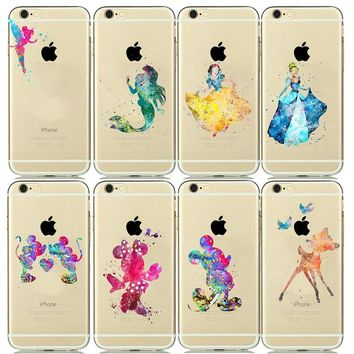 Cartoon Watercolor Soft TPU Silicone Case for capinhas iPhone 8 7 Plus 6 6s 5 5s SE Minnie Mickey Mouse Phone Cases Snow White