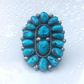 Vintage Native American Blue Turquoise Ring, Southwestern Blue Turquoise Jewelry, Zuni, Navajo, Turquoise Ring