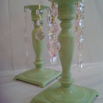 Green Vintage Brass Candle Holders Shabby Cottage Chic Chandelier Crystals