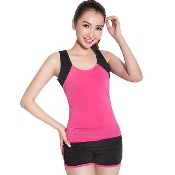 Free Shipping Solf Modal Dance Yoga Suits Yoga clothes Couture Spring Slim Vest Shorts Dance Gym Running Clothes DL 72