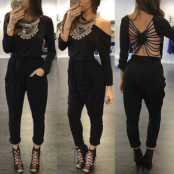 Black Strappy Cutout Back Long Sleeves Top and  Harem Pants