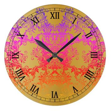 Decorative Baroque Damask Gradients Ornaments Large Clock