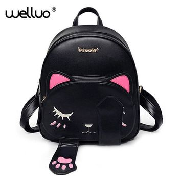 Women Cute Cat Faux Leather/ Canvas Backpack