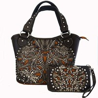 Montana West Ridem Cowgirl Purse and Wallet Set Floral Cutouts Coffee