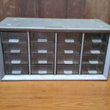 Vintage Industrial Metal Handy Bin Small Parts Cabinet by Acme Cabinets