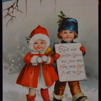 Christmas Postcard, Artist Ellen Clapsaddle, Clapsaddle Christmas, Children Christmas, Antique Postcard
