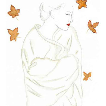 Fall is in the Air - Print from original watercolor & pencil fashion illustration by Lexi Rajkowski, Home decor, Fall art