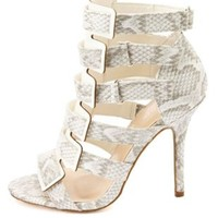 Python Print Strappy Cut-Out Heels by Charlotte Russe - White