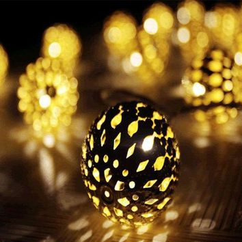 Moroccan 10 LED Shining Warm White Metal Ball String Fairy Lamp Led Garden Light