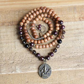 Sandalwood Root Chakra Mala Necklace