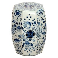 Octagon Hand Painted Blue and White Swimming Koi Fish Ceramic Garden Stool Seat