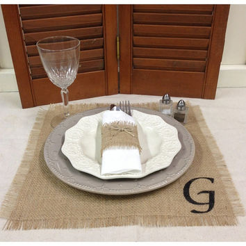 "Burlap Placemat set of 4 or 6 or 8 with Initial - Overlay or Centerpiece  14"" X 14"""