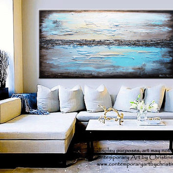 """GICLEE PRINT Art Abstract Painting Blue Modern Canvas Prints Urban Aqua Brown White City Home Wall Decor xl LARGE sizes up to 60"""" -Christine"""