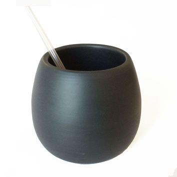 Matte Black Porcelain USA Made Cup
