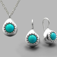 Silver turquoise set, handmade jewelry, silver turquoise earring, turquoise jewellery, boho silver, gemstone necklace, december birthstone