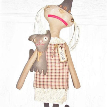 HANDMADE Folk Art Raggedy Halloween Witch Doll Cat Fall Home Decor by Eerie-Beth