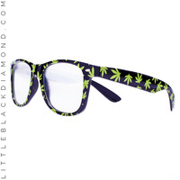 Pot Leaf Wayfarer Diffraction Glasses