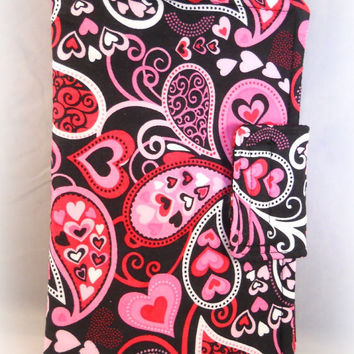 Cute Kindle Fire Case Kindle Fire HD Cases Kindle Fire Cover Hearts Paisley Black Red Pink