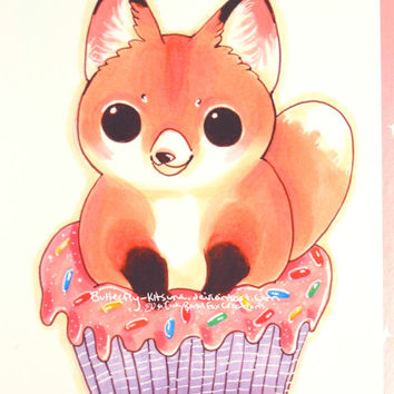"Foxy Cupcake Print Fox Valentine's Day Birthday card Wall Art glossy 6""x4"""