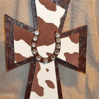Western Horseshoe Cowhide Cross