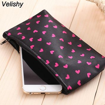 Velishy 1PC Portable Multifunction Beauty Travel Cosmetic Makeup Bag Heart Shaped Dots Pattern Pencil Cosmetic Bags 18*10*2.5cm
