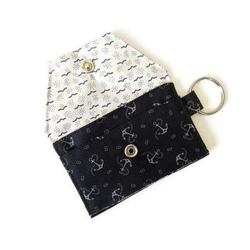 Mini key chain wallet/ simple ID Key chain pouch / Business card holder/ Keychain coin purse / Anchors and Waves- Deep Navy
