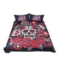 Sugar Skull Bedding Set Roses Duvet Cover Set With Pillowcases Floral Printed