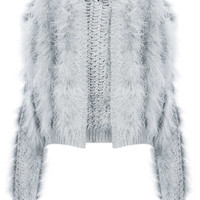 KNITTED MARABOU FEATHER CARDI