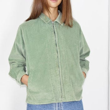 vtg 90s CORDUROY long sleeve shirt green corduroy top collared shirt grunge top 90s jumper oversized corduroy jacket MEDIUM LARGE m lrg