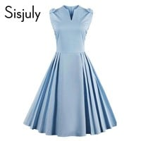 Sisjuly women vintage dress summer elegant 1950s retro sleeveless dresses party style blue A-Line 50s V-Neck vintage dress 2017
