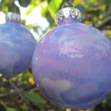 Purple and Pink hand painted Glass Christmas Ornament, glow in the dark paint, Christmas decoration with deep violet glow pigment