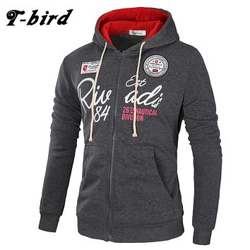 T-Bird  Hoodies Brand Men Letter Printing Sweatshirt Male Hoody Hip Hop Autumn Winter Zipper Hoodie Mens Pullover XXXL