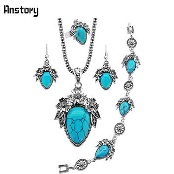 Flower Leaf Drop Turquoise Necklace Bracelet Earrings Ring Jewelry Sets Vintage Look Antique Silver Plated Fashion Style TS331