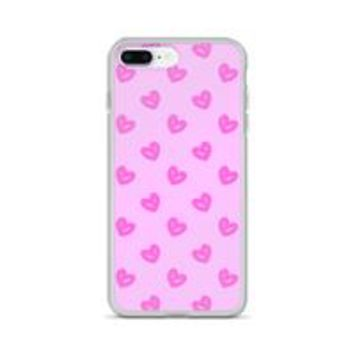 Apple iPhone Solid Case - Cute Pink hearts pattern