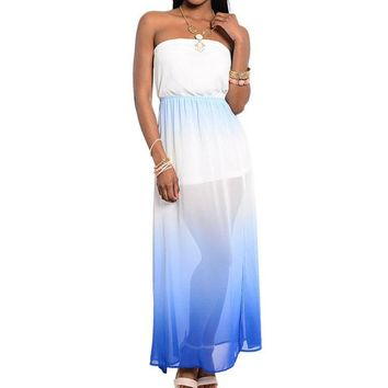 Strapless Chiffon Gradient Maxi Dress in Blue