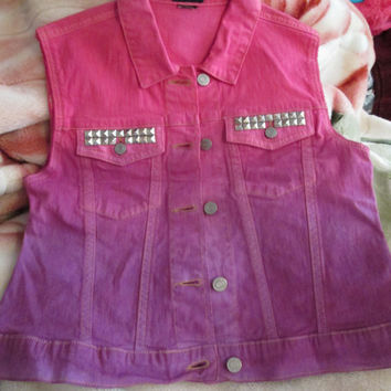 Hand Dyed Ombre Pink Purple Studded Denim Vest