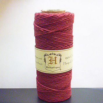 Maroon Burgundy  Hemp Cord polished  1mm 20 test Macrame Cord  Twine  jewelry making   hippie