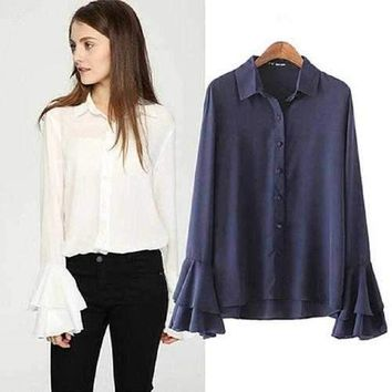 LaBella Chiffon Bell Sleeves Shirt