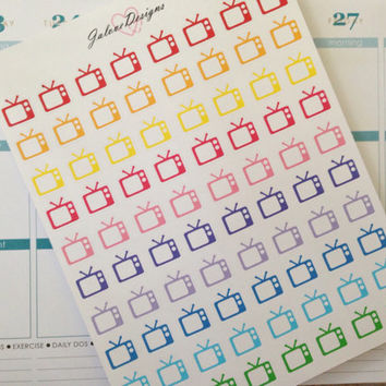 Television TV Icon Planner Stickers for Erin Condren, Filofax, Plum Paper Planner, Kikki K