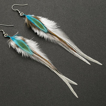 White feather earrings: real natural feather, bohemian boho native american wedding bridal bridesmaid jewelry gift for her turquoise