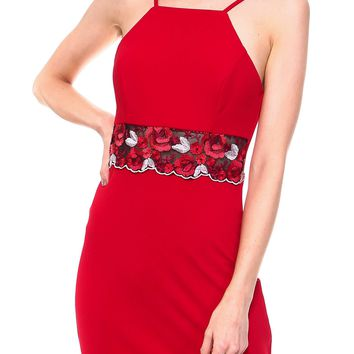 Teeze Me | Sleeveless Halter Embroidered Waist Sheath Dress  | Red