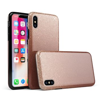 Rose Gold Digital Falling Glitter - iPhone X Swappable Hybrid Case