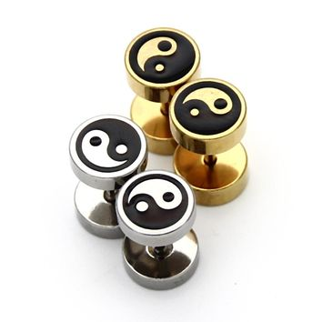 2pcs Fashion Yin Yang Stainless Steel Stud Earrings  For Women Men Punk Style  Gossip Ear Earring Jewelry Unisex Party Gift
