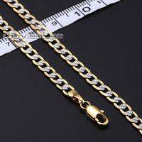 Davieslee Customized Length 4MMGold Filled Necklace Hammered Curb Cuban Chain Womens Necklace Mens Chain Fahsion Jewelry DLGN64
