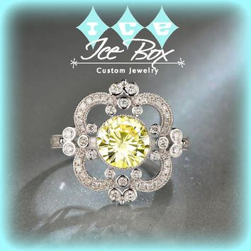 Moissanite Engagement Ring 7.5mm, 1.5ct Round Brilliant Canary Moissanite in a 14k White Gold Diamond Halo Art Deco Nouveau Vintage