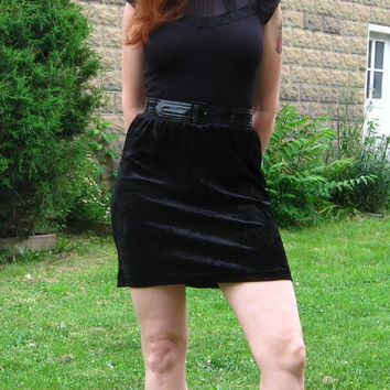 On SALE: 1990s Black Crushed Velvet Miniskirt. Super hot and comfy