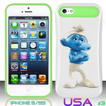 USA Design #3 - IPhone 5 5S Glow in Dark Case # smurfs 2 @ Cover for IPhone 5 5S