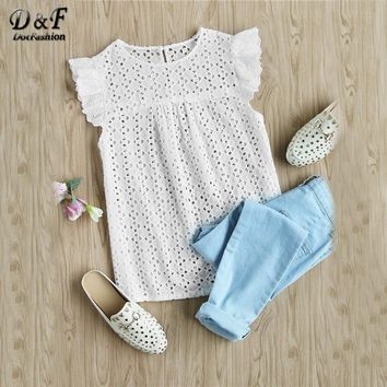 Dotfashion Buttoned Keyhole Flutter Sleeve Blouses Cap Sleeve Blouses With Ruffle Summer Eyelet Embroidered Smock Tops